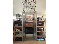 Shelving units - glass and wooden. Sell separately or as a set