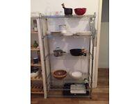 Adjustable metal shelving rack