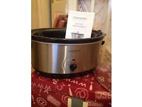 cookworks signature 6.5 litre slow cooker, Stainless steel with black ceramic liner