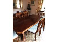 Solid Wood Extending Dining Table and 8 chairs with 3 optional matching carvers