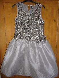 NEXT silver sequin party/bridesmade dress 10-11 age