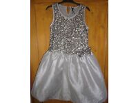 NEXT silver sequinned party/girl dress 10-11 age