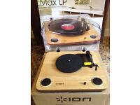 ION MAX LP turntable record player. Built in speakers with John Lennon vinyl