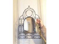 Small Decorative Mirror in Black Metal Frame