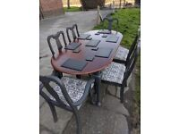 Large rustic vintage boho extending dining table & 6 chairs. Charcoal shabby chic. LOCAL DELIVERY.