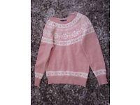 ladies jumper, pale pink with cream snowflake design. Brand new, not worn,