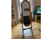 Elegant Free-Standing Pine Wood Swivel Mirror