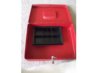 "helix cash box metal lockable with a key - 12"" x 12 "" used good condition"