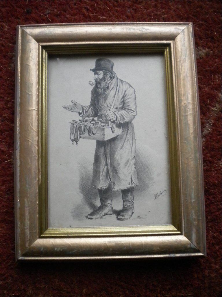 A PENCIL DRAWING BY W SCHAFER DEPICTING A STREET SELLER 9X7 INCHES
