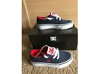 Brand New in box boys DC trainers size Infant UK10 Red And Navy