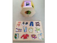 Wooden jigsaw and shape sorter. Learning toys toddlers