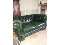 2 seater leather button back sofa
