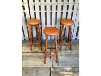 Vintage Retro oak bar / breakfast stools
