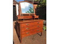 Large Dressing Table - Vintage / Antique Style Dressing Table - Edwardian Style Dressing Table - Red
