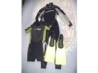 SCUBA DIVING WET SUITS wetsuit ' s AND FINS