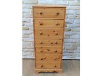 7 Drawer Welsh Pine Strong but Slim Chest (Delivery)