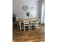 Country farmhouse dining room table and chairs. Dimensions 88cm wide. 152cm long. 78mm tall.