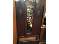 Charming Vintage Art Deco Style Utility Carved Mirror Wardrobe with Drawer