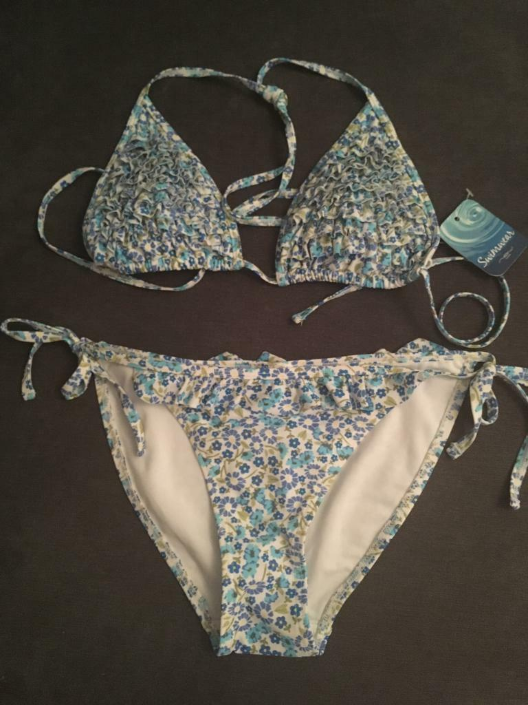 New Look Blue Floral Ditsy Bikini - size 12