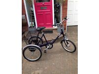 """Pashley adult 17"""" Tricycle in Midnight blue, condition as new, 3 speed"""