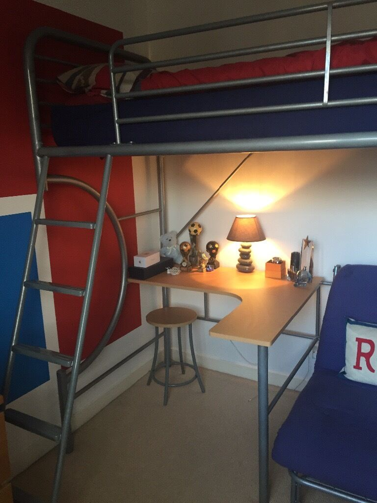 Bunk Bed with desk/chair/futon sofa bedin Coatbridge, North LanarkshireGumtree - Bunk Bed/High Sleeper with curved desk, chair and futon sofa bed for the occasional sleepover. Silver metal sturdy bed. Good condition