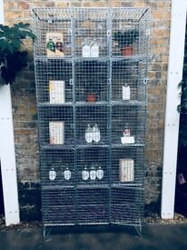 Wire cage shelving unit