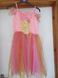 BEAUTIFUL SILKY FLOATY FAIRY DRESS pink & gold +wings - age 7-11 REDUCED AGAIN TODAY - ONLY £3 NOW!