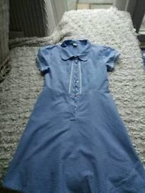 GIRLS BLUE GINGHAM SCHOOL DRESS