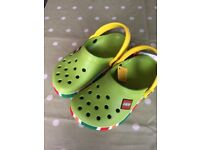 New Lego Crocs Size 1 Green / Yellow
