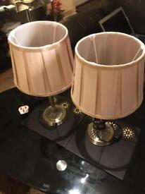 Cream golden bronze base lamps - MINT condition 2 x pair