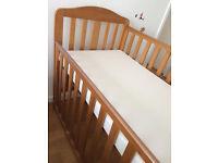 Mothercare Darlington dropside cot with Mattress