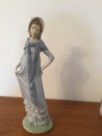 "Lladro Lady Figurine 12"" wearing long Blue Dress and Shawl"