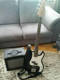 Bass Guitar And Amplifier.