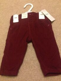 Marks & Spencer girls berry cord trousers age 3-6 months brand new