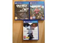 PS4 games (call of duty, killzone and Farcry 4)