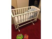Baby rocking Crib with Full bedding