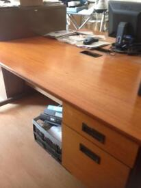 Lovely solid wood desk with attached side drawers