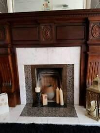 Marble/Mahogany Fireplace