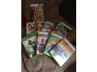 white xbox 360 with 8 games, controller plus kinect with 1 game