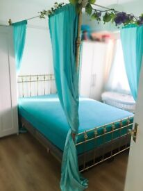 Antique Brass Four Poster Double Bed