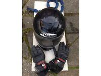 Motorbike helmet and gloves