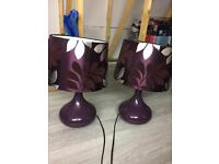 Two plum bedside table lamps
