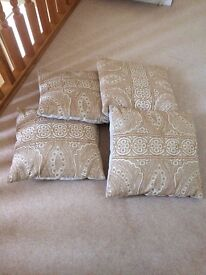 4 Laura Ashley decorative cushions in gold and cream
