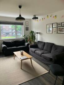 ikea ektorp black sofas 2 seater and 3 seater suite
