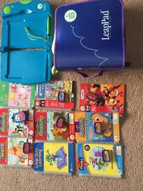 Leap pad learning system 9 books and carry case