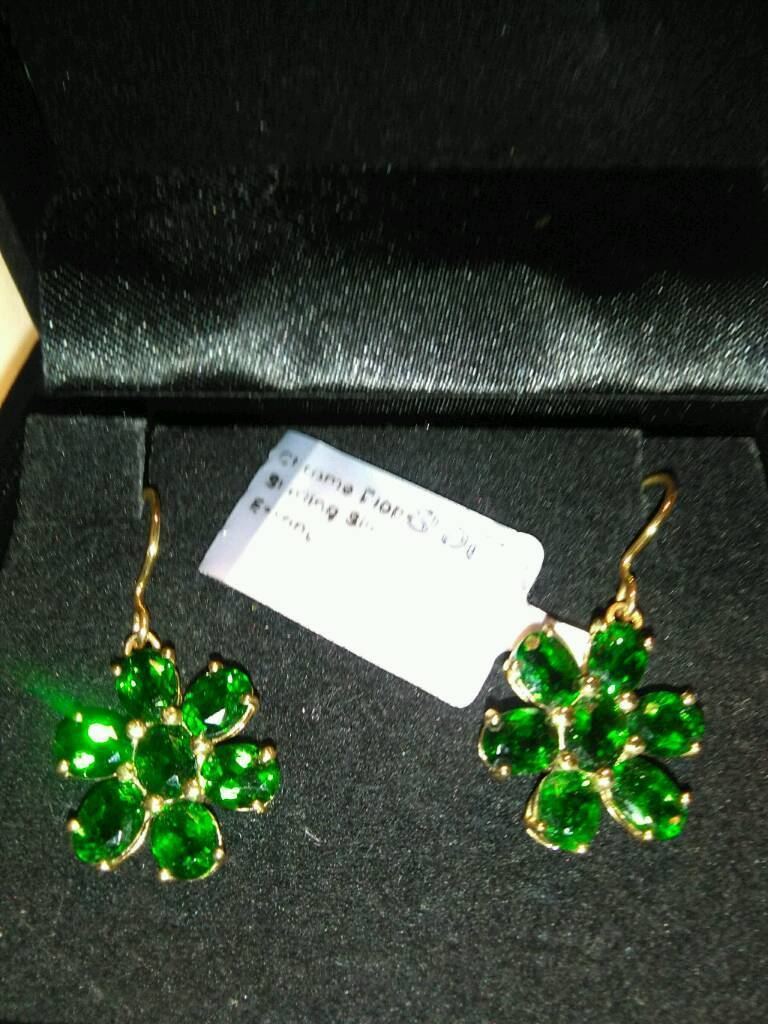 New Russian Green Chrome Diopside Earrings