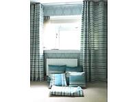 Matching made to measure bedroom set including curtains cushions sham