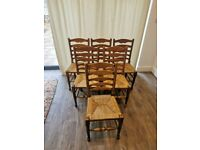 6 x Vintage Ladderback Chairs with Rush Seats