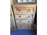 Solid wood (pine) chest of drawers
