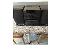 Panasonic music system, radio , cd, cassette player with speakers and remote control